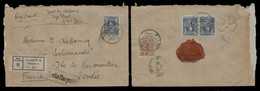 SIAM. 1923. BKK - 2  - France. Reg Multifkd Env (front And Reverse) With Boxed Pmk Late Fee Paid (xx). VF. - Siam