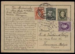 SLOVAKIA. 1939 (16 Dec). Zupa, Bratislavska - Belgium / Louvain. 50h Green Stat Card + 3adtls. Fine. - Slovaquie