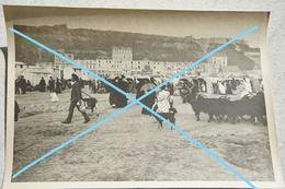 Photo BOULOGNE SUR MER Place Animée Cabines De Plage Chèvres Circa 1910 - Lieux