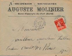 Lettre Draperie Molinier Semeuse Saint Hippolyte Du Fort Gard - Poststempel (Briefe)