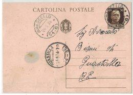 YN524    Regno 1934 Cartolina Da Brescello A Guastalla Doppio Annullo Frazionario - 1900-44 Vittorio Emanuele III