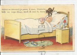 """Homme Couché Réveillé Par Son Chat:"""" Même En Dormant, Je Pense à Vous, Madame"""". - Humour"""