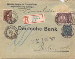 R -Inflabrief  Esslingen (Württembergische Vereinsbank) > Berlin 1923 - Briefe U. Dokumente