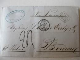 MARQUE POSTALE     LIMA  Vers  BORDEAUX   1857 - Marcophilie (Lettres)