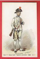 ARTILLERIE CORPS ROYAL REGIMENT PROVINCIAL 1786 CARTE COLORISEE UNIFORME PAR MAURICE TOUSSAINT - Uniforms
