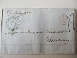MARQUE POSTALE     MOULE  GUADELOUPE Vers  BORDEAUX   1854 - Marcophilie (Lettres)