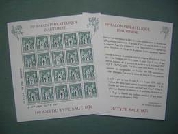 BLOC FEUILLET - 140 ANS DU TYPE SAGE 1876 - 70e SALON PHILATELIQUE ( 1 ) - Blocs & Feuillets