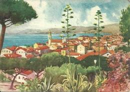 Bordighera (Imperia) Panorama, Illustrazione, Illustratore Gino Frattini 1949 - Imperia
