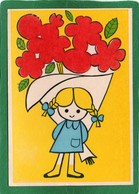 Jeu Mako Flok, Fillette Avec Enorme Bouquet De Fleurs,Couleur  Feutrine Rouge Illustrateur CPM état Impeccable - Cartes Postales