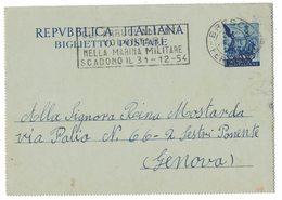 """YN526    ANNULLO A TARGHETTA """"GLI ARRUOLAMENTI..."""" 1954 BRESCIA - SU BIGLIETTO POSTALE QUADRIGA L.25 - 1946-60: Marcofilia"""