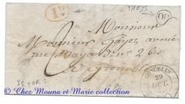 MARQUE POSTALE 1838 GONCELIN GRENOBLE TAXE 2 ID ROUGE OR LAC LETTRE - 1801-1848: Précurseurs XIX