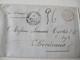 MARQUE POSTALE   LETTRE   POINTE à PITRE   Vers  BORDEAUX   1854 - Marcophilie (Lettres)