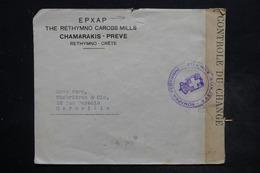 CRÊTE - Enveloppe Commerciale De  Rethymno Pour La France En 1938 , Affranchissement Au Dos , Contrôle Postal - L 26497 - Crète