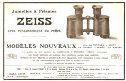 """PUB JUMELLES à PRISMES  """" ZEISS """"   1907 ( 1 ) - Technical"""