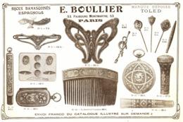 """PUB  BIJOUX DAMASQUINES ESPAGNOLS  """"  E. BOULLIER """"  1907 ( 1 ) - Autres"""