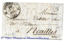 MARQUE POSTALE 1838 PONTHIERRY NOAILLES TAXE ID ROUGE BOITE RURALE B LAC LETTRE VALETTE - 1801-1848: Voorlopers XIX