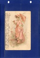 ##(ROYBOX2)- Femme - Frau - Lady - Young Woman With Elegant Pink Dress, With Hat And Umbrella- Used In Russia 1901 - Donne