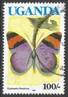 Uganda. 1990 Butterflies. 100/- Used. SG 871A - Uganda (1962-...)