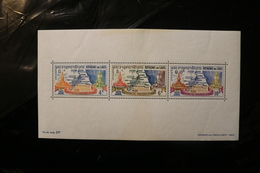 Laos 91a UNESCO Nubia Monuments Miniature Sheet Of 3 Block Some Staining TOP BOTTOM MNH 1964 A04s - Laos