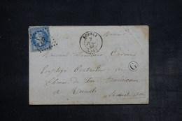 FRANCE - Enveloppe De  Acheux Pour Rueil En 1869 , Affranchissement Napoléon , GC 9 , Cachet Facteur G - L 26510 - 1849-1876: Période Classique