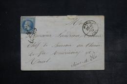 FRANCE - Enveloppe De  Acheux Pour Rueil En 1870 , Affranchissement Napoléon , GC 9 , Cachet Facteur G - L 26512 - 1849-1876: Période Classique