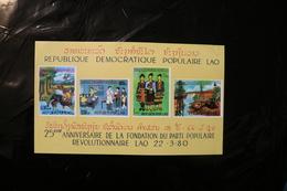 Laos 321-324 Agriculture Education Health Women Hydro Electric Souvenir Sheet Block Minor Crease UR MNH 1980 A04s - Laos