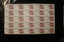 Laos 87 Centenary Red Cross Queen Khamphouy Handing Out Gifts Block Of 25 Folded MNH 1963 A04s - Laos
