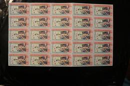 Laos 86 Centenary Red Cross Queen Khamphouy Handing Out Gifts Block Of 25 Folded MNH 1963 A04s - Laos