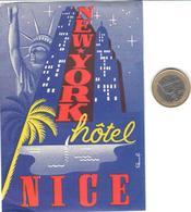 ETIQUETA DE HOTEL  - NEW YORK HÔTEL  -NICE  -FRANCIA - Hotel Labels