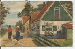 """Deux Hollandais Sur Un Chemin. Auberge Publicité:""""Vieux Schiedam Hulstkamp, Le Meilleur"""". - Publicidad"""