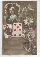"""Valet De Carreau Et Sept De Cœur. Oiseaux, Marguerites, Jeune Femme En Médaillon: """"Une Amie Va Vous écrire ..."""" - Cartes à Jouer"""