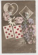 """Deux Huit. Jeune Femme Et Couple En Médaillons. Fleurs: """"On Vous Fera Une Déclaration D'amour..."""" - Cartes à Jouer"""
