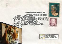 USA. Le Tigre, Année Lunaire,  Enveloppe Souvenir Clemson University, South Carolina,  Lettre Adressée Etats-Unis - Big Cats (cats Of Prey)