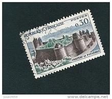 N° 1236 Fougères Le Château  Tour Bleu 1960  Timbre  FRANCE  Oblitéré Rond Variété - Errors & Oddities