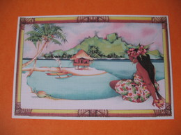 "Polynésie Française - Artistes Peintures En Polynésie  Titi Bécaud "" Vahine ""  à Voir - Polynésie Française"