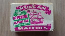 """Zündholzschachtel Aus Großbritannien Von 1985 (""""Vulcan Matches"""") Mit Werbung Für MATCHBOX-Autos - Zündholzschachteln"""