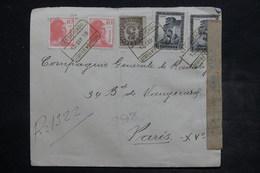 ESPAGNE - Enveloppe En Recommandé De Barcelone Pour Paris En 1938 , Affranchissement Plaisant , Censure - L 26527 - Republikanische Zensur