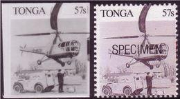 Tonga 1989 - Helicopter Shown - Black & White Proof + Specimen - Hubschrauber