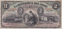 BILLETE DE PERU DE 2 SOLES DEL AÑO 1879 (BANKNOTE) TREN-TRAIN-ZUG - Pérou