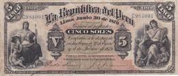 BILLETE DE PERU DE 5 SOLES DEL AÑO 1879 (BANKNOTE) - Peru