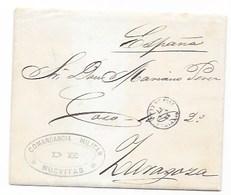 1877 CARTA COMPLETA DE NUEVITAS A ZARAGOZA - COMANDANCIA MILITAR DE NUEVITAS , CONTIENE CARTA- SDPH1 - Cuba (1874-1898)