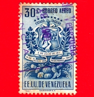 VENEZUELA - Usato - 1951 - Stemma Dello Stato Di Tachira - Arms - 30 - Posta Aerea - Venezuela