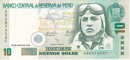 BILLETE DE PERU DE 10 NUEVOS SOLES DEL AÑO 1994 CALIDAD EBC (XF) (BANKNOTE) AVION-PLANE-AVIONETA - Peru