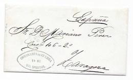 1877 CUBA CARTA COMPLETA DE STI. SPIRITUS A ZARAGOZA - COMISARIA DE GUERRA , CONTIENE CARTA- SDPH1 - Cuba (1874-1898)