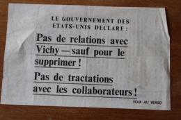 """Tract Aerien """" Pas De Relation Avec Vichy"""" 21 Mars 1944 - 1939-45"""