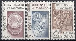 Spagna 1976 Sc. 1944/1946 Bimillenario Zaragoza Coin Of Caesr - Ebro - Mosaico Orfeo  Nuovo Full Set  MNH Spain Espana - Archeologia