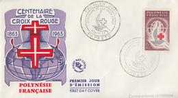 Enveloppe   FDC  1er   Jour   POLYNESIE   Centenaire  De  La  CROIX  ROUGE   1963 - FDC