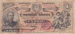 BILLETE DE ARGENTINA DE 1 PESO DEL BANCO PROVINCIAL DE CORDOBA DEL AÑO 1888  (BANKNOTE) - Argentina