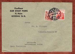 Vordruckbrief Kaufhaus Stadt Paris, MiF Landschaften, Gossau Nach Muellheim 1946 (71639) - Suisse
