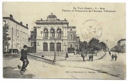 81-ALBI-Théâtre Et Perspective De L'Avenue Villeneuve... 1911  Animé  (verso Timbre Arraché) - Albi